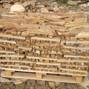 Камень пиленный «Бамбук» 30 мм Желто-медовый