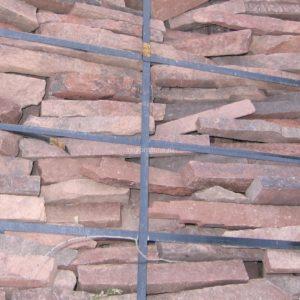 Камень пиленный «Бамбук» 30 мм Терракотово-красный
